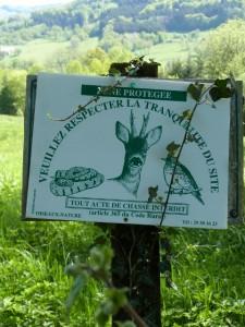 Ancien panneau zone protégée Oiseaux Nature