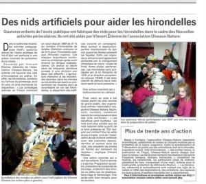Des Nids artificiels pour aider les hirondelles - Vosges-Matin du 13 avril 2015