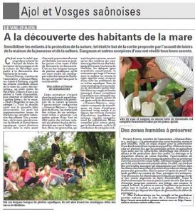 A la découverte des habitants de la mare - Vosges Matin 29-06-2015
