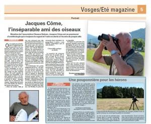 Jacques l'inséparable ami des oiseaux Vosges Matin 23-07-2015