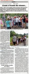 L'école à l'écoute des oiseaux-Echo des Vosges juin 2015