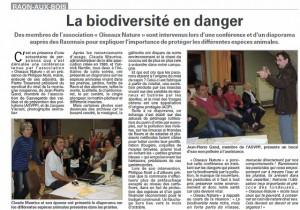 La biodiversité en Danger - VoM avril 2015