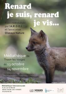 Affiche exposition «Renard je suis, renard je vis…» à Thaon les Vosges 2014
