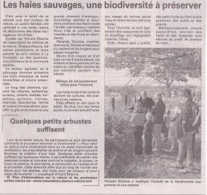 Les haies sauvages une biodiversité à préserver Vosges Matin 06-10-2015