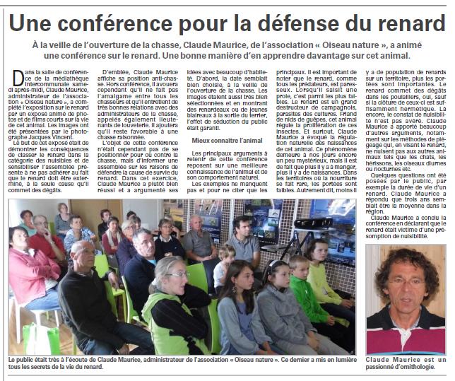 Conférence pour la défense du renard à Vagney Vosges Matin 16-09-2014