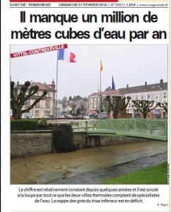 Il manque 1 million de m3 par an Nappe GTI - Vosges Matin UNE 21-02-2016