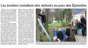 Les écoliers installent des nichoirs au parcs des Epinettes au Val d'Ajol Vosges Matin03-02-2016