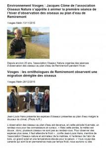 Plan d'eau de Remiremont articles du 13-11 et 28-12-2015