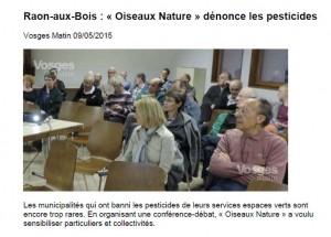Raon-aux-Bois-Oiseaux Nature dénonce les pesticides - Vom du 09-05-2015