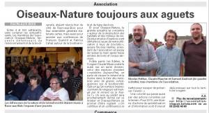 AG Oiseaux Nature 2014 - Vosges Matin Octobre 2014