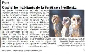 Quand les habitants de la forêt se réveillent Gazette Xertigny n°533 du 18 Mars 2014