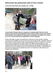 Découverte des grenouille à Vittel - VOM 02 avril 2016