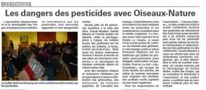 Les dangers des pesticides avec Oiseaux nature - Vosges Matin 11-04-2016