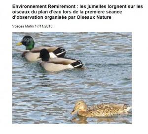 Les jumelles lorgnent sur les oiseaux du plan d'eau de Remiremont - Vosges Matin 17-11-2015