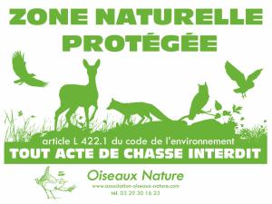 Panneau zone naturelle protégée - Oiseaux Nature