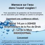 Affiche conférence Menace sur l'eau dans l'Ouest Vosgien - 14 juin 2016