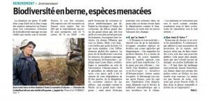 Biodiversité en berne espèces menacées - Vosges Matin 17-02-2017