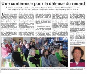 Une conférence pour la défense du renard Vagney Vosges Matin 14-09-2014