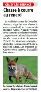 Chasse à courre au renard - Vosges Matin dimanche 12 Mars 2017