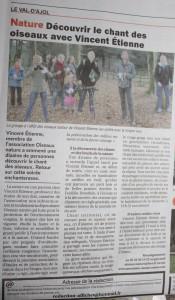 Article Est Républicain - Découvrir les chants d'oiseaux avec Vincent Etienne - Sortie Nature au Val d'Ajol le 31 mars 2017