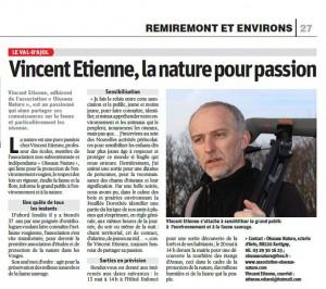 Vincent Etienne la nature pour passion - Vosges Matin 18.04.2017