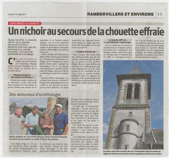 Un nichoir au secours de la chouette effraie - Vosges Matin du 12-08-2017