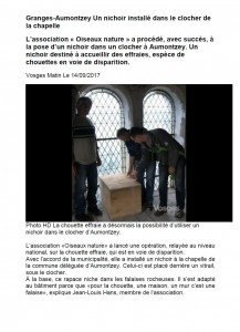 Granges-Aumontzey : Un nichoir installé dans le clocher de la chapelle - Vosges Matin du 14-09-2017