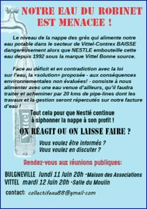 Le Collectif Eau 88 vous invite à participer aux Réunions Publiques à Vittel & Bulgnéville - Juin 2018