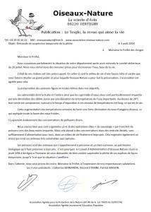 Lettre Oiseaux Nature Demande de suspension de la pêche Préfet des Vosges - 3 août 2018