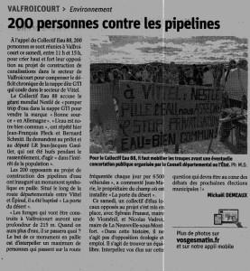 Valfroicourt 200 personnes contre les pipelines - Vosges Matin 07-09-2018