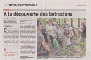 Vittel Ala découverte des batraciens - Vosges Matin 24-04-2018
