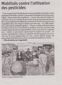 Mobilisés contre l'utilisation des pesticides-Vosges Matin 06-10-2018