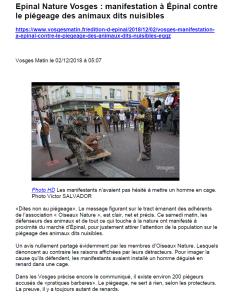 Manifestation à Epinal contre le piégeage des animaux dits nuisibles - Vosges Matin 02-12-2018