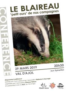 Affiche Conférence Le blaireau petit ours de nos campagnes 29-03-2019 lourd
