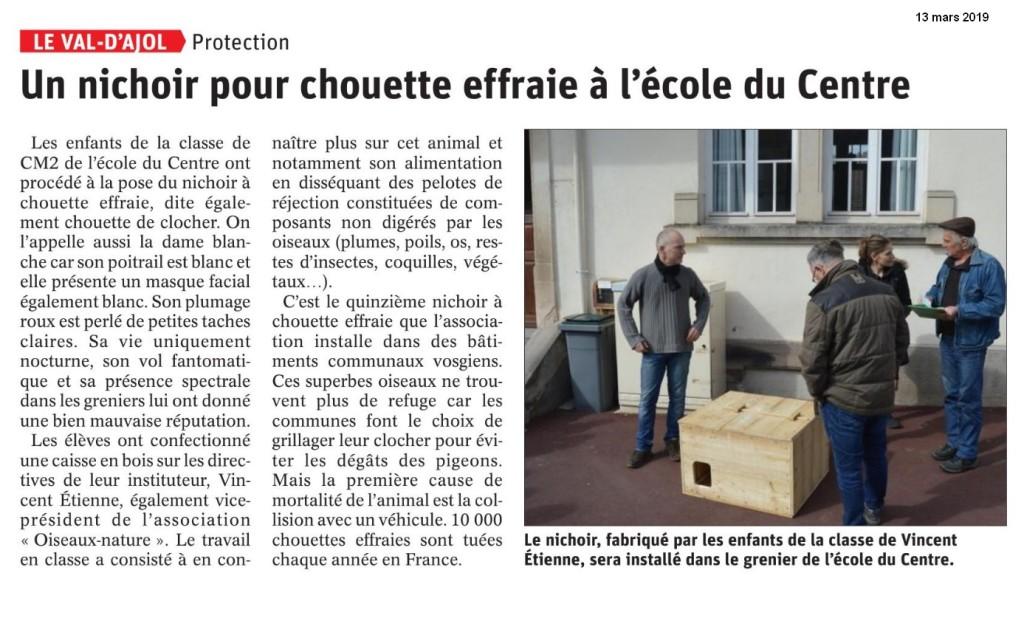 Un nichoir pour chouette effraie à l'école du centre - Vosges Matin 13-03 2019