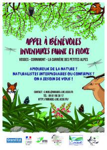Affiche appel à bénévoles inventaires faune flore sur le secteur de Cornimont- Mirabel LNE printemps 2019