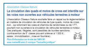 Circulation des quads et moto de cross interdite sur les voies et chemins de randonnée - Revue AMV88 - Mars avril 2019