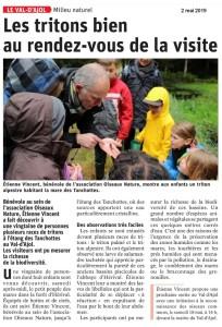 Sortie Nature tritons du 27-04-2019 article Vosges Matin 02-05-2019
