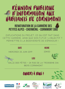 Affiche réunion publique à Cornimont le 25-06-2019 Projet de renaturation mares
