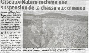 Oiseaux Nature réclame une suspension de la chasse aux oiseaux - Vosges Matin 26-08-2019
