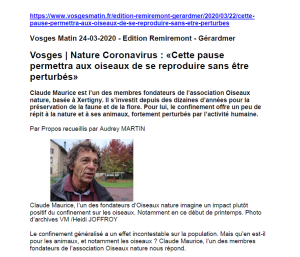 Nature Coronavirus Cette pause permettra aux oiseaux de se reproduire sans être perturbés - Vosges Matin 24-03-2020