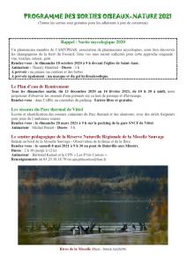 Programme des sorties Oiseaux Nature 2021-1