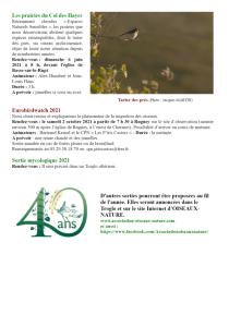 Programme des sorties Oiseaux Nature 2021-3
