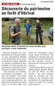 Découverte du patrimoine en forêt d'Hérival - Vosges Matin 24-09-2020