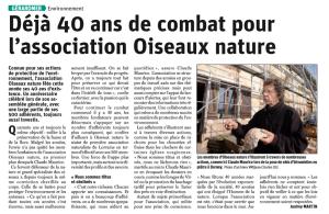 Déjà 40 ans de combat pour l'association Oiseaux Nature - Vosges Matin 04-10-2020