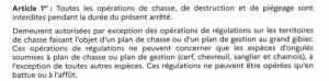Article 1 chasse dérogation confinement novembre 2020