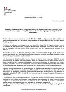 Communiqué de presse ministère écologie chasse 2ième confinement