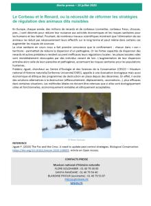 Le Corbeau et le Renard ou la nécessité de réformer les stratégies de régulation des animaux dits nuisibles - Alerte presse du 10 juillet 2020 MNHM