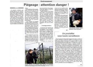 Piégeage - Attention danger Vosges Matin 14-02-2016