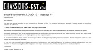 Second confinement COVID-19 – Message n°1 Chasseur de l'est Vosges 29-10-2020